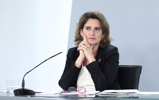 La vicepresidenta para la Transición Ecológica, Teresa Ribera, minutos antes de la comparecencia en rueda de prensa posterior al Consejo de Ministros en Moncloa.