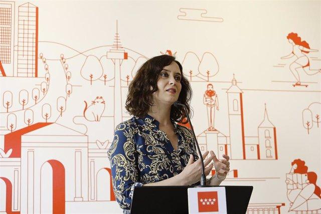 La presidenta de la Comunidad de Madrid, Isabel Díaz Ayuso, durante su intervención en la reapertura del Centro de Turismo
