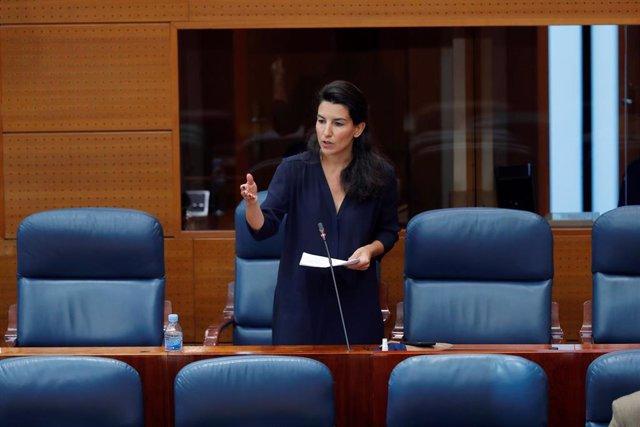 La portavoz de Vox, Rocío Monasterio, durante su intervención en el pleno celebrado este jueves en la Asamblea de Madrid, en Madrid (España), a 28 de mayo de 2020.