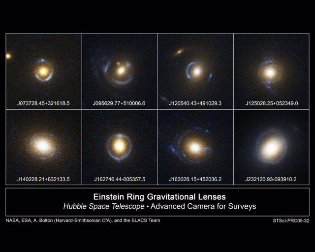 Ejemplos de lentes gravitacionales de anillo de Einstein captadas por el Hubble