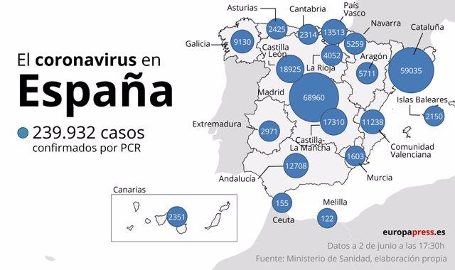 Mapa Covid España a 2 de junio
