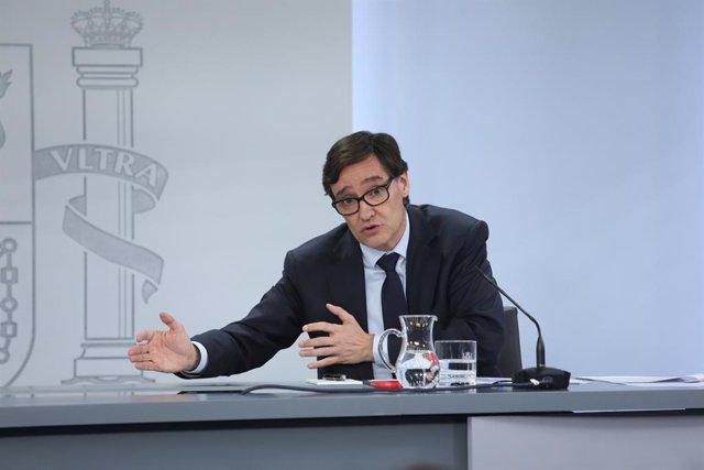 El ministro de Sanidad, Salvador Illa, comparece en rueda de prensa posterior al Consejo de Ministros en Moncloa para informar sobre novedades en la crisis del Covid-19, en Madrid (España), a 2 de junio de 2020.