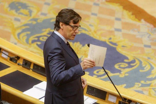 El ministro de Sanidad, Salvador Illa, durante su intervención a la Sesión de Control al Gobierno en el Senado, en Madrid (España) a 5 de mayo de 2020.