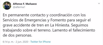 Mañueco, en permanente contacto con Fomento y Emergencias, lamenta las muertes del siniestro ferroviario en Zamora