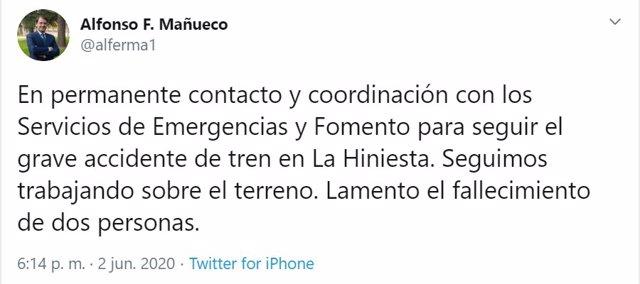 Tuit del presidente de la Junta a propósito del accidente de La Hiniesta (Zamora).