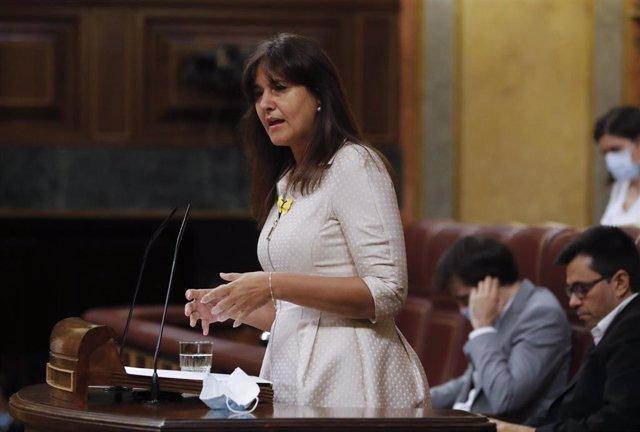 La portavoz de JxCat, Laura Borrás, durante el debate de la quinta prórroga del estado de alarma que se celebra este miércoles en el Congreso de los Diputados, en Madrid (España), a 20 de mayo de 2020.