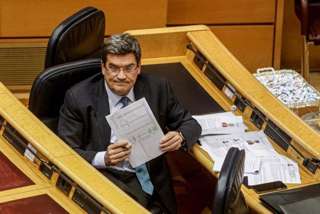El Ministro de Inclusión, Seguridad Social y Migraciones, José Luis Escrivá, en el Senado