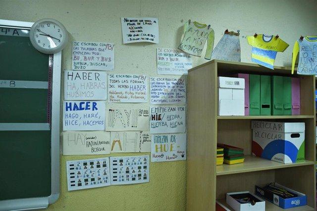 Carteles informativos de un aula de un colegio de Infantil y Primaria