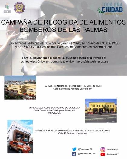 Los bomberos de Las Palmas de Gran Canaria comienzan este miércoles una recogida de alimentos para familias necesitadas