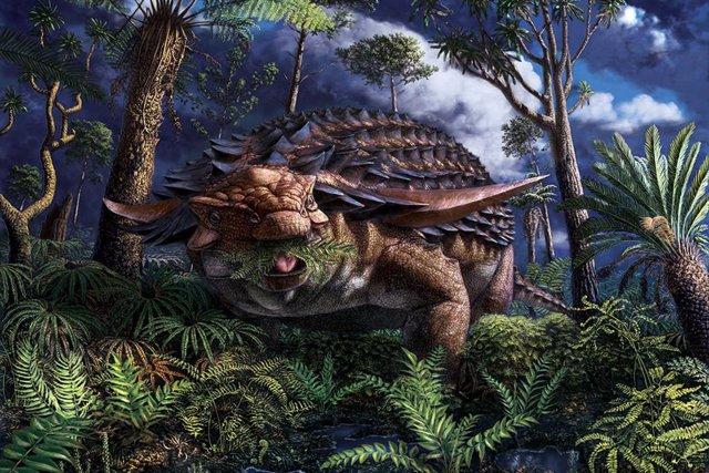 Recreación del dinosaurio blindado Borealopelta markmitchelli