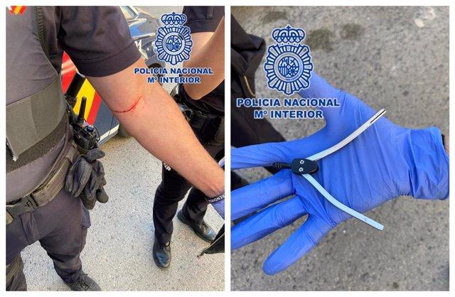 Imagen del compás usado como arma y el agente agredido