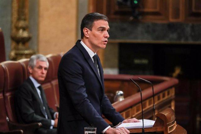 El presidente del Gobierno, Pedro Sánchez, durante su intervención en el Pleno del Congreso