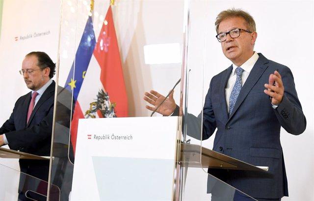 El ministro de Exteriores de Austria, Alexander Schallenberg, y el ministro de Salud, Rudolf Anschober