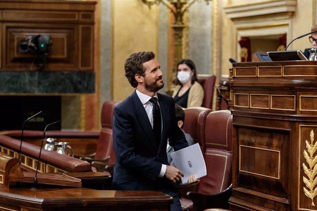 El presidente del Partido Popular, Pablo Casado, en el debate de la sexta prórroga del estado de alarma. En Madrid, (España), a 3 de junio de 2020.