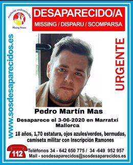 Alerta de desaparición difundida en redes sociales para encontrar a un joven de 18 años que fue visto por última vez en Marratxí.