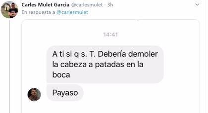 """Carles Mulet denuncia ante la Policía amenazas de muerte en redes sociales: """"Se te debería demoler la cabeza a patadas"""""""