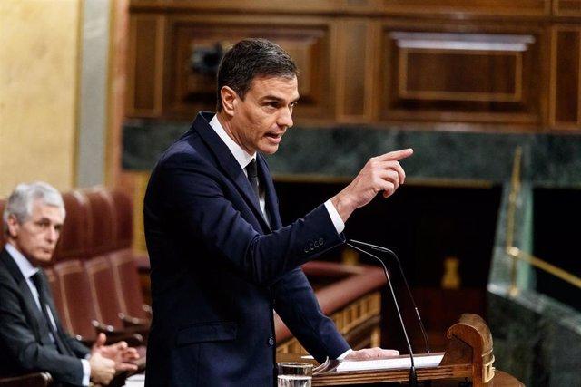 El presidente del Gobierno, Pedro Sánchez, durante su réplica en la sesión del Parlamento en la que se ejerce el control al Gobierno y se trata la sexta prórroga del estado de alarma por la crisis del Covid-19. En Madrid, (España), a 3 de junio de 2020.