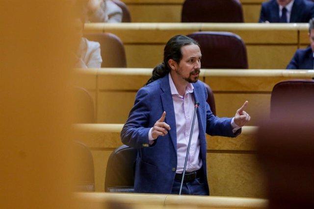 El Vicepresidente segundo del Gobierno y Ministro de Derechos Sociales y Agenda 2030, Pablo Iglesias, durante su intervención en el pleno en el Senado del 1 de junio