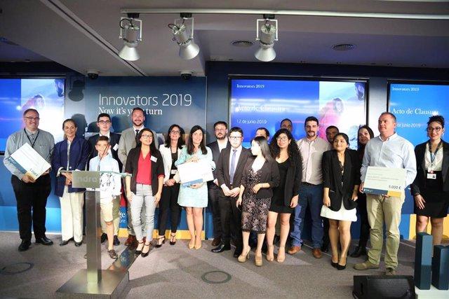 Ganadores y participantes en la final de Innovators 2019, la iniciativa de intraemprendimiento corporativo de Indra