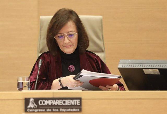La presidenta de la AIReF, Cristina Herrero, en una comparecencia en el Congreso