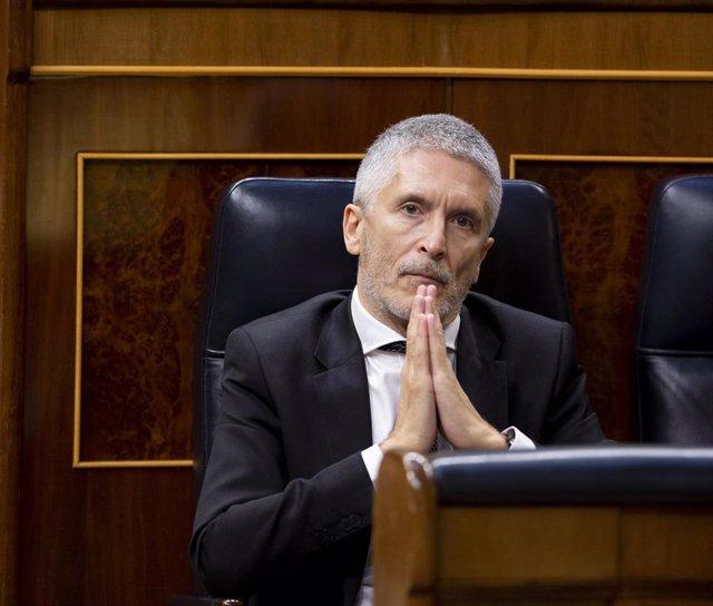 El ministro del Interior, Fernando Grande Marlaska, durante el pleno de sesión de control al Gobierno