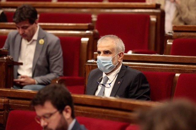 Carlos Carrizosa (Cs) en una imagen de archivo en el pleno del Parlament del 21 de mayo.