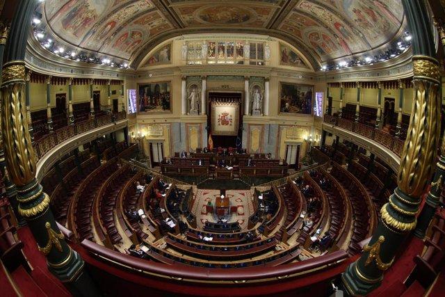 Hemiciclo del Congreso durante uno de los debates del estado de alarma