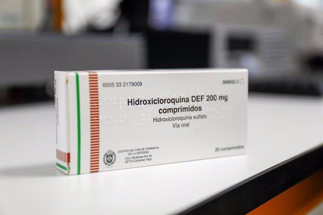 Hidroxicloroquina en una de las salas del edificio del Control de Calidad del Laboratorio del Centro Militar de Farmacia de la Defensa en la base logística de San Pedro. En Colmenar Viejo/Madrid (España) a 16 de abril de 2020.