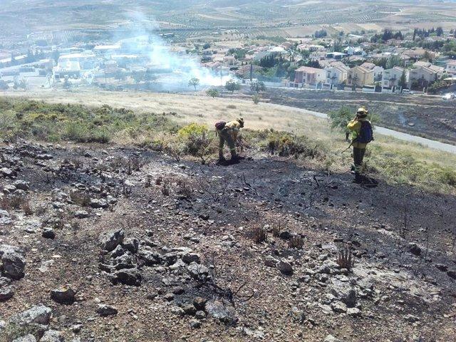 Control de un incendio en Padul por el Infoca