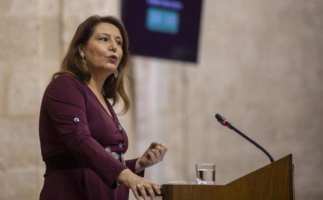 La consejera de Agricultura, Ganadería, Pesca y Desarrollo Sostenible, Carmen Crespo, en el Pleno del Parlamento.