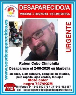 Cartel alertando de la desaparición de un hombre en Marbella (Málaga)