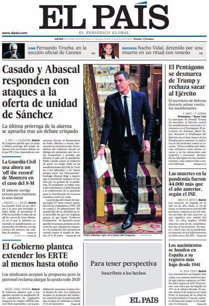 Las portadas de los periódicos del jueves 4 de junio de 2020
