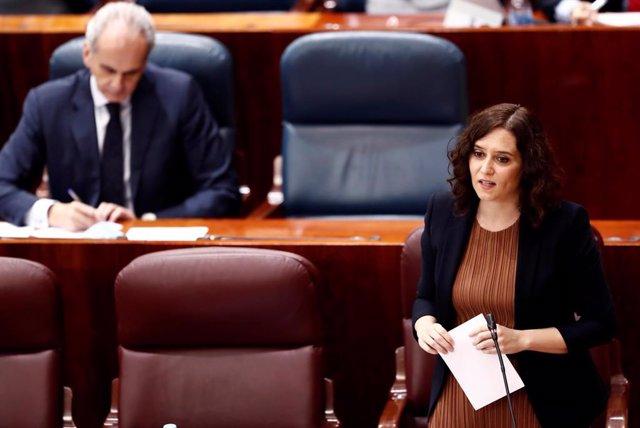 La presidenta de la Comunidad de Madrid, Isabel Díaz Ayuso, durante su intervención en la Asamblea de Madrid