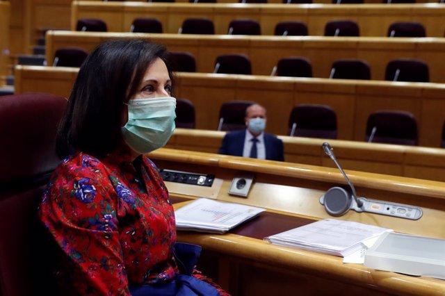 La ministra espanyola de Defensa, Margarita Robles, en una comissió al Senat, Madrid (Espanya), 22 de maig del 2020.