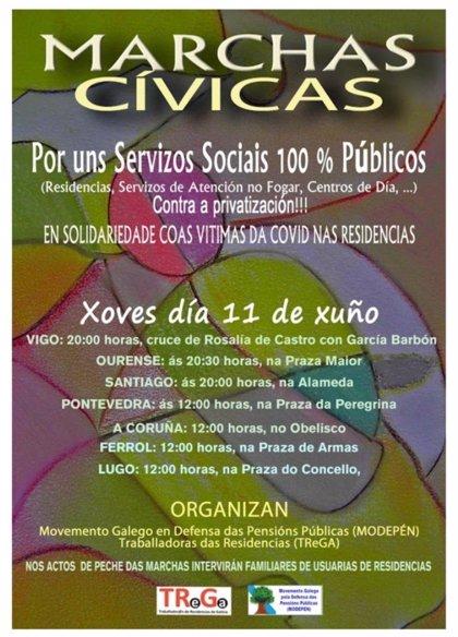 Protestas en las siete ciudades gallegas el 11 de junio reclamarán servicios de calidad en las residencias