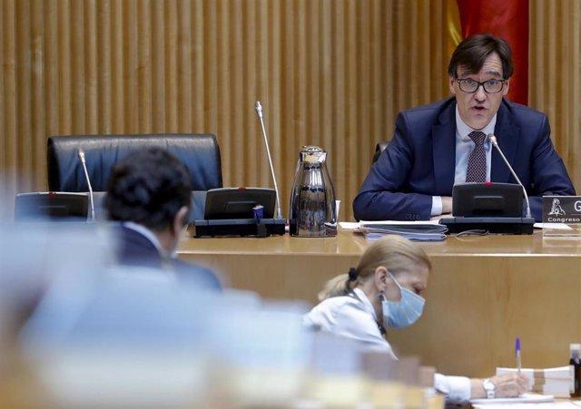 El ministro de Sanidad, Salvador Illa, comparece en la Comisión de Sanidad del Congreso celebrada este jueves sobre la evolución de la crisis del coronavirus y las medidas de su departamento ante las distintas fases de la desescalada, en Madrid (España),