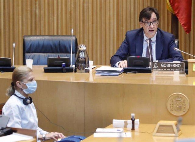 El ministro de Sanidad, Salvador Illa comparece en la Comisión de Sanidad del Congreso celebrada este jueves sobre la evolución de la crisis del coronavirus y las medidas de su departamento ante las distintas fases de la desescalada, en Madrid (España), a