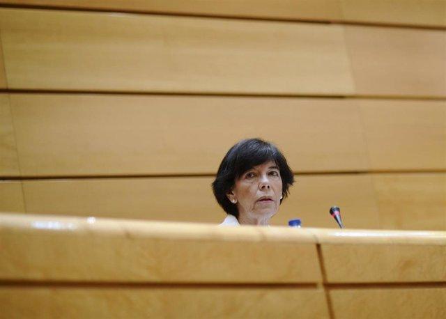 La ministra de Educación y Formación Profesional, Isabel Celaá, este jueves durante su comparecencia en el Senado.