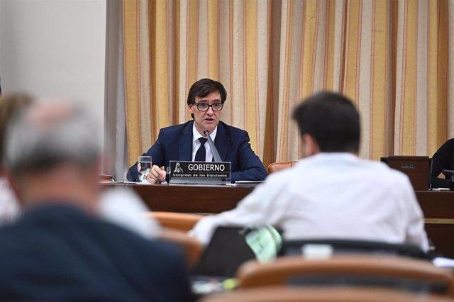 El ministro de Sanidad, Salvador Illa, durante su comparecencia en la Comisión correspondiente del Congreso en una semana marcada por la polémica debido a la disparidad de datos con algunas comunidades autónomas, en Madrid (España), a 4 de mayo de 2020.