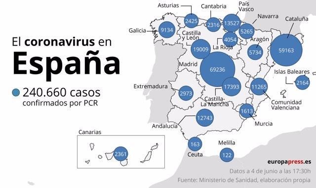 El coronavirus en España a 4 de junio