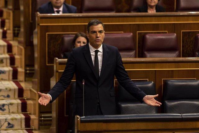 El presidente del Gobierno, Pedro Sánchez, durante la sesión de control al Gobierno, en Madrid, (España), a 3 de junio de 2020.