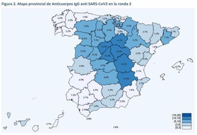 Mapa por provincias con los datos de la segunda oleada del estudio de seroprevalencia del COVID-19.