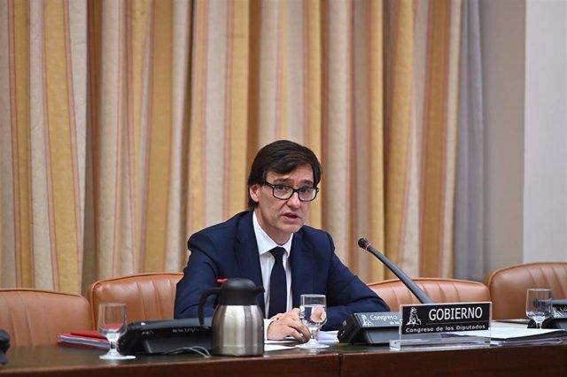 El ministro de Sanidad, Salvador Illa, durante su comparecencia en el Congreso