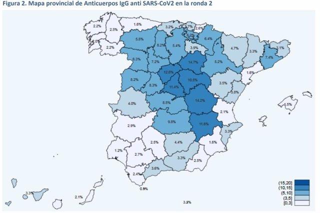 Resultados de la segunda oleada del estudio de seroprevalencia por provincias