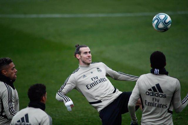 Gareth Bale en un entrenamiento con el Real Madrid