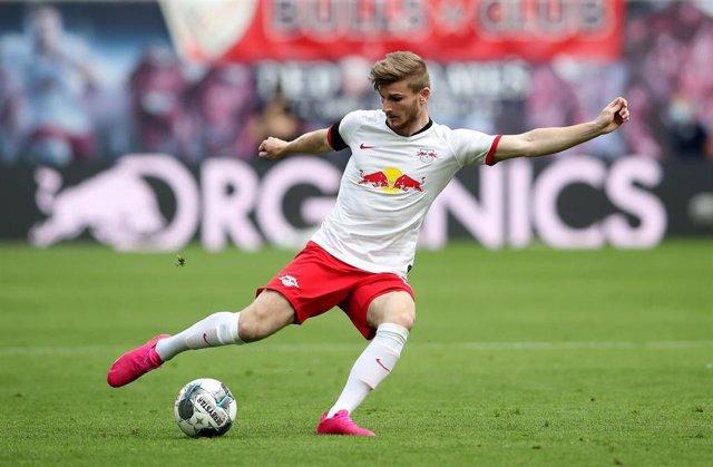 Timo Werner jugando con el Leipzig