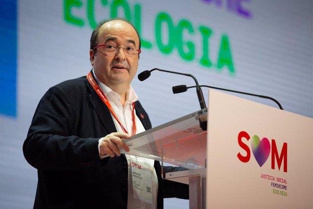 El primer secretari del PSC, Miquel Iceta, durant la seva intervenció al Congrés del PSC en el qual es presenta a la reelecció com a primer secretari del partit, en el Palau de Congressos de Catalunya, a Barcelona a 13 de desembre de 2019.