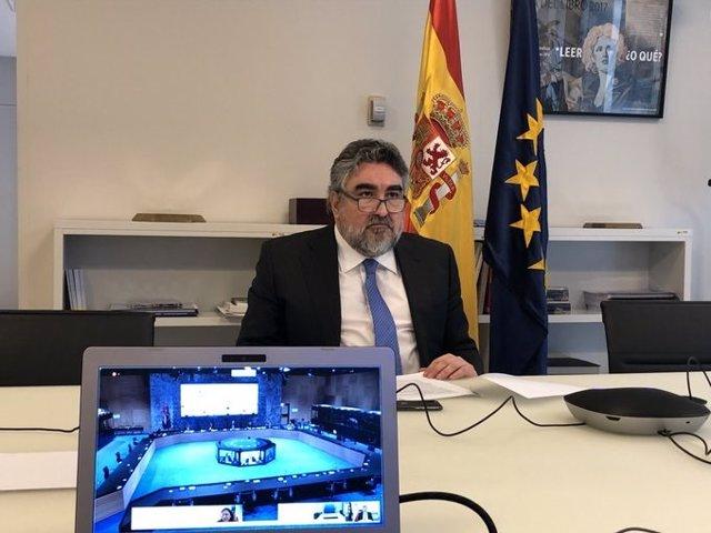 El ministro de Cultura y Deporte, José Manuel Rodríguez Uribes, durante la reunión telemática con los ministros de Deportes de la Unión Europea