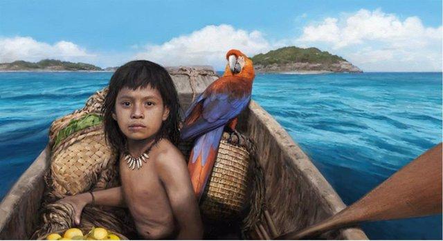Ilustración de uno de los primeros pobladores del Caribe