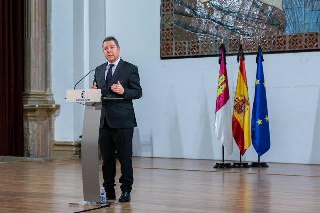El presidente de C-LM, Emiliano García-Page, en un acto en Molina de Aragón.